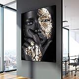 Cuadro En Lienzo Mujer Desnuda Negra y Dorada para la decoración del hogar del sofá de la Sala de Estar,60x90cm,Pintura sin Marco