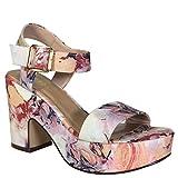 BAMBOO Women's Chunky Heel Platform Sandal with Quarter Strap, Blush Floral Print Fabric, 7.5 B US