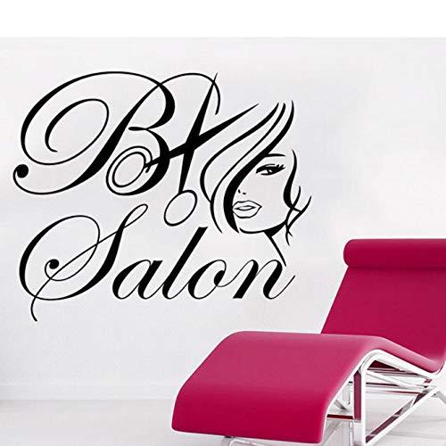 Sticker mural Vinyle Art Room Decor Autocollant Salon De Beauté Maquillage Filles Femmes Maquillage De La Mode Cheveux Mur Autocollant 57X48Cm