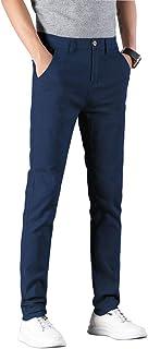Plaid&Plain Men's Skinny Stretchy Khaki Pants Colored Pants Slim Fit Slacks Tapered Trousers