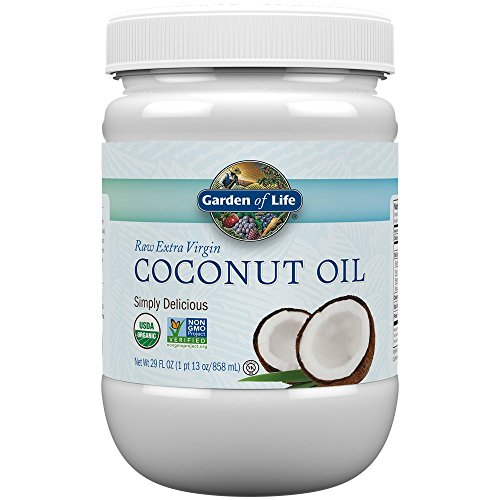 Garden of Life Coconut Oil for Hair, Skin, Cooking - Raw Extra Virgin Organic Coconut Oil, 57 Servings - Pure Unrefined Cold Pressed Oil with MCTs for Body Care or Baking, Aceite de Coco Organico