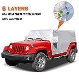 RT-TCZ Car Rain Sunshade Cover for 2007-2020 Jeep Wrangler JK JL 4 Door Windproof Dustproof Scratch Resistant Outdoor UV Protection Auto Cover