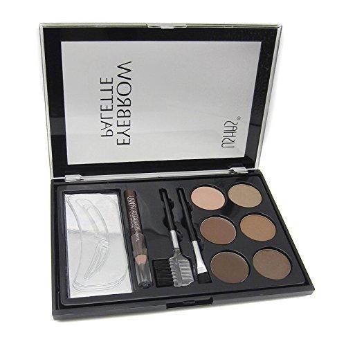 Yanshan Maquillage sourcils Enhancer poudre yeux sourcils pochoir cils peigne brosse Set Kit 6 couleurs