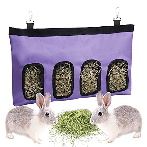 ウサギの餌付けディスペンサー、フィーダーバッグのオックスフォード布の内側のコーティングは、ウサギ、モルモット、チンチラ、その他の小動物に防水です。(purple)
