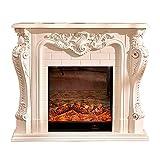Chimenea de dormitorio Inserción eléctrica Boxebox sala de estar decoración de chimenea de calentamiento Mantel de madera DIRIGIÓ Llama emulatoria artificial óptica ( Color : Brown with heater )
