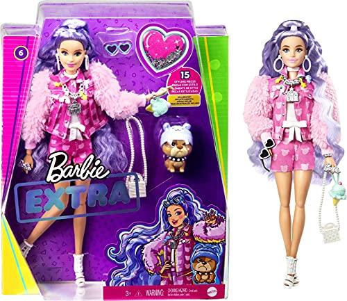Barbie Muñeca Extra #6 Pulgadas Rosa con Estampado de Oso de Peluche Chaqueta...