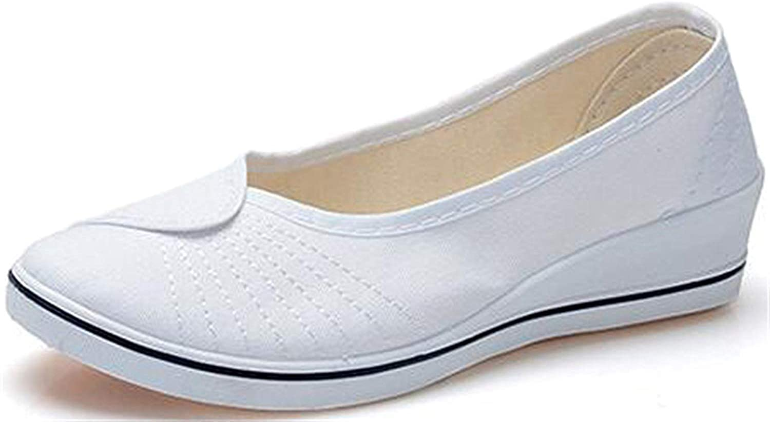 MOREMOO Women's Canvas Wedge Slip On Loafers Dancing shoes