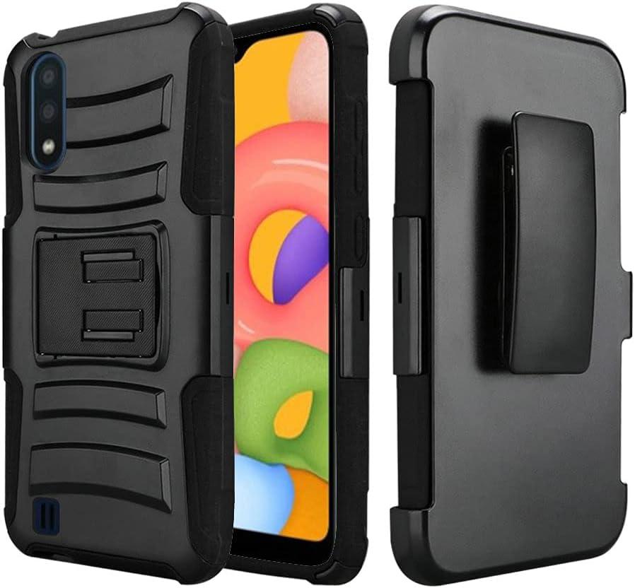 AmeriCase | Samsung Galaxy A51 5G | Hybrid Defender Phone Case W/ Belt Clip Holster for Samsung Galaxy A51 5G UW, SM-A516U, SM-A516V (Black)