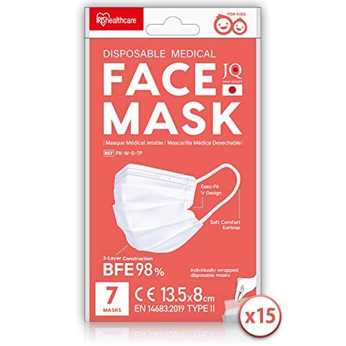 Iris Ohyama, 105 Easy Fit V-Design Einweg-Atemschutzmasken für Kinder (15 Sets von 7) vom Typ II, 3-lagig BFE 98{49a80f95cec5132a26b6dfc2f21211caedda0df13e8ce955a5bf164b64da34b6}, reizhemmende Gummibänder - Disposable Medical Mask PK-W-G-7P - 13,5 x 8 cm