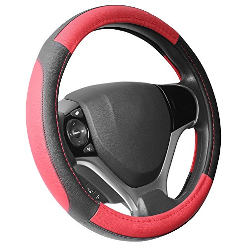 SEG Direct Black and Red Microfiber Leather Steering Wheel Cover for Prius Civic 14' - 14.25'