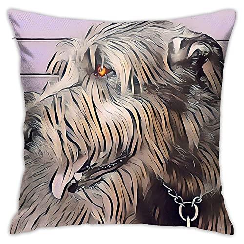 Funda de almohada decorativa con perfil de Wolfhound en color pastel cómoda funda de cojín cuadrada para sofá, dormitorio, silla de coche, funda de almohada de 45,7 x 45,7 cm