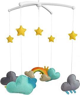 Décoration de lit de bébé Cadeau nouveau-né Mobile musical fait à la main Nuage
