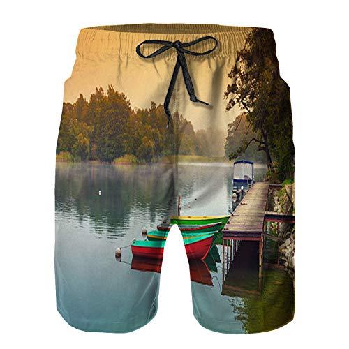 Hombres Verano Secado rápido Pantalones Cortos Playa otoño brumoso temprano en la mañana Barcos de Madera en la Orilla del río Trajes de baño Correr Surf Deportes-M