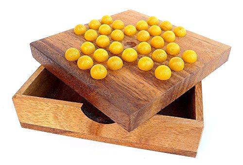 Logica Giochi art. SOLITARIO/DAMA CINESE - Rompicapo in Legno Strategico-Matematico - 2 Giochi Strategici in 1 - Scatola Richiudibile in Legno Pregiato