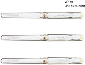 Uni-Ball Signo UM-153 Gel Ink Rollerball Pen, 1.0mm, Broad Point, White Ink, Pack of 3