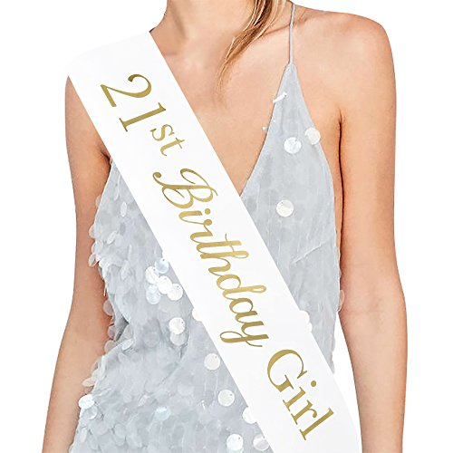 ADBetty21st Birthday Girl Sash - 21st Birthday Sash Birthday Gifts Party Favours, Supplies and Decorations
