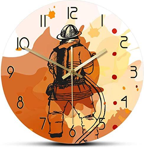 Reloj De Pared Reloj De Pared Con Estampado De Bombero, Reloj De Pared Silencioso, Letrero Del Departamento De Bomberos, Decoración De Pared De Cueva Para Hombre, Idea De Regalo Para Bomberos