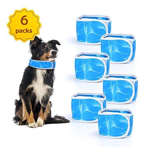 Nobleza - Collar Refrigerante para Mascotas, Correa de Perro Refrigerante Cómodo Collar de Gato Bandana, Ajustable Cooling Collar, Azul, Paquete de 6, S(45 * 7cm)