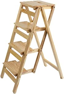 ZHJBD Furniture Stool Folding Ladder Wood for Adult Stool Seat Ladder-Shaped Plant Stand for Kitchen Living Room Bedroom Balcony Garden Shoe Rack