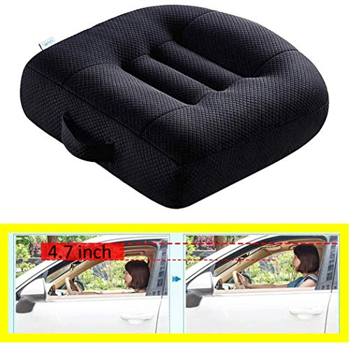 Cushion Car Booster Seat, Car Booster Office Mat, Car Seat Pad Heightening Height Boost Mat Portable Breathable Mesh, Ideal for Car Office,Home, Used All The Year, Black 15.7x15.7x4.7inch