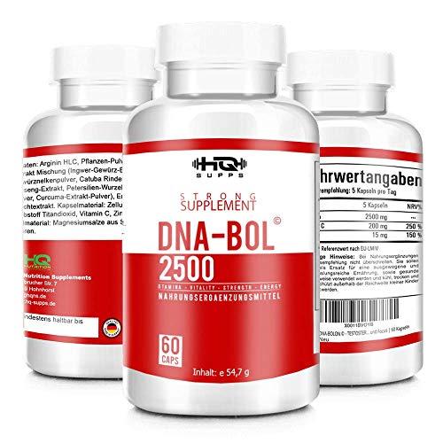 DNA-BOL © - Hardcore Pre Workout Booster - L- Arginin extrem hochdosiert - Muskelaufbau - beliebt im Bodybuilding - 60 hochdosierte Kapseln, Hergestellt in Deutschland