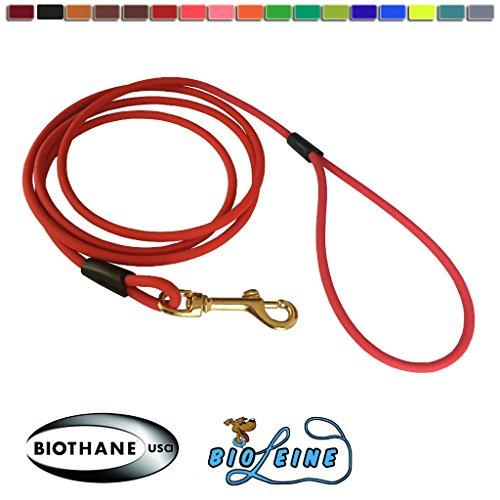 bio-leine Schleppleine aus runder Biothane - 3 Meter Länge, Ø 6,4 mm, für kleine und große Hunde, schmutz- und Wasserabweisende Hundeleine Schleppleinen, Rot
