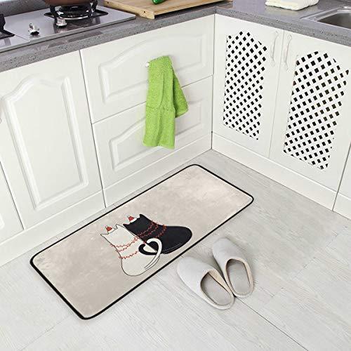 Küchenmatte wärmsten Wünsche mit niedlichen Katzen Muster rutschfeste Rückseite Fußmatte Boden Küche Teppiche Bad Läufer Matten Teppich, 99 X 50.8CM