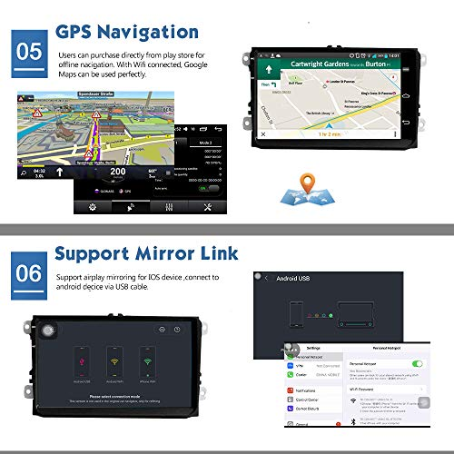 KKXXX S9 Plus pour VW Volkswagen Android 7.1 Autoradio Stéréo 9 Pouces Navigation GPS Auto Radio AM / FM / RDS CANBUS Câble ISO 2 Go de RAM 32 Go ROM Lien Miroir