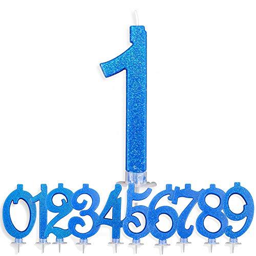 Candeline Compleanno Particolari Numeri Grandi 1 Anno BLU | Decorazione Torta Festa per Happy Birthday Bambino Ragazzo Uomo | Candele Topper Auguri Anniversario | Componi i tuoi Anni (Numero 1)