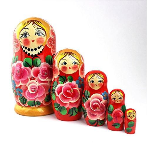 Heka Naturals Russische Matroschka-Puppen, 5 traditionelle Matroschkas Rosen-Stil | Babuschka Holzpuppen, Pinkes Rosen-Design, Handgefertigt in Russland | Rosen, 5 Stück, 18 cm
