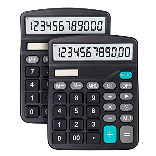 Calculator, 12-Digit Solar Battery Basic Calculator, Solar Battery Dual Power Office Calculator, with Large LCD Display and Large Buttons (Battery Included) (Black, 2pack-Black)