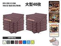 エースパンチ 新しい 40ピースセットブルゴーニュ 500 x 500 x 20 mm フラットウェッジ 東京防音 ポリウレタン 吸音材 アコースティックフォーム AP1035
