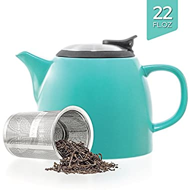 Tealyra - Drago Ceramic Small Teapot Turquoise - 22oz (2-3 cups) - With Stainless Steel Lid and Extra-Fine Infuser for Loose Leaf Tea - Lead-free - 650ml