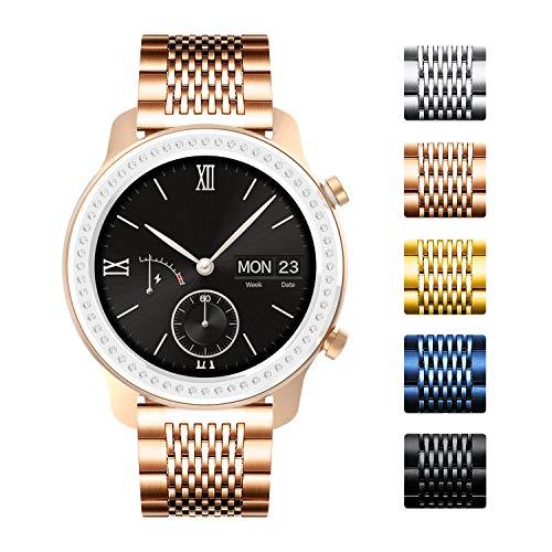 BINLUN Ersatz-Uhrenarmbänder Kompatibel mit Amazfit Bip/GTS/GTR 42mm 47mm/Amazfit Pace/Stratos Smartwatch Schnellverschluss poliertes 15-Gitter-Edelstahlarmband für Männer Frau (20mm/22mm)
