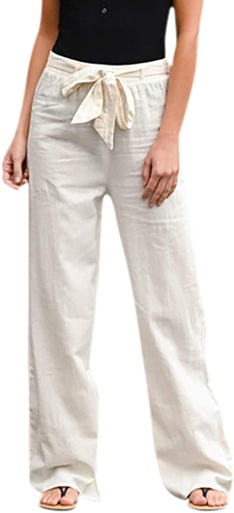 Fankle Womens Wide Leg Pants Casual Pull On Cotton Linen Pants Trousers Summer Casual Long Pants