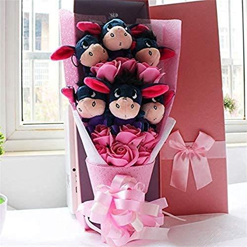 Leuke Zachte zeep met ezel Iejoor Boeketten Cartoon dingen Dieren Knuffels Creative Valentine/Graduation Gift Pink