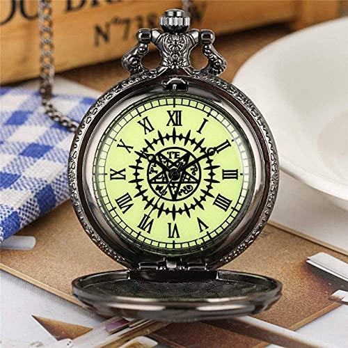DIEFMJ Reloj de Bolsillo Reloj de Bolsillo Negro Reloj de Cuarzo analógico de Cadena Delgada Reloj Colgante Reloj de Llegada