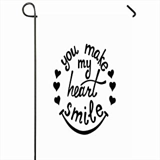 Ahawoso Outdoor Garden Flag 28x40 Inches Love You Make My Heart Smile Lettering Miscellaneous Quote Friend Sentence Black Couple Word Slogan Seasonal Home Decor Welcome House Yard Banner Sign Flags
