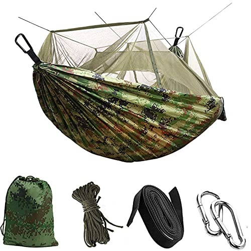 Camping Hammock with Mosquito Net Uplayteck Portable Double/Single Travel Hammock Insect Netting 210D Nylon Hammock Swing for Backyard Garden Camping Backpacking Survival Travel (Camo)