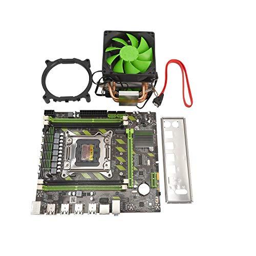 Baalaa Placa Base X79 LGA2011 Placa Base SATA3.0 2.0 USB2.0 DDR3 Placa Base de Doble Canal de 1866MHz para CPU Xeon/Core con Ventilador de Enfriador de CPU