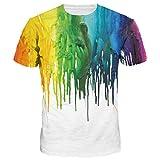 Amade 半袖-Tシャツ-メンズ-ホワイト-ドロドロ-プリントー-オシャレ-面白-スリム-男女兼用-カジュアルシャツJP069-51-XL