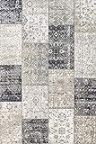 LIFA LIVING 133 x 200 cm Vintage Teppich für Wohnzimmer und Schlafzimmer, Wohnzimmerteppich mit Muster Patchwork, Dunkelgrau, aus weicher Wolle
