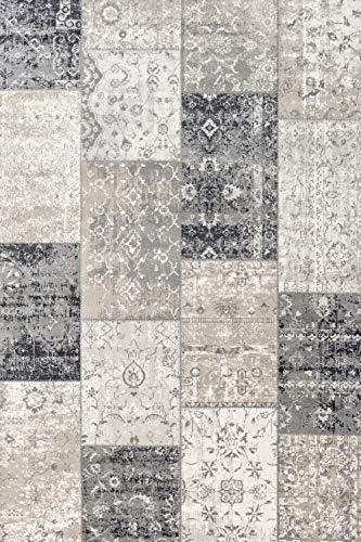 LIFA LIVING 80 x 150 cm Vintage Teppich für Wohnzimmer und Schlafzimmer, Wohnzimmerteppich mit Muster Patchwork, Dunkelgrau, aus weicher Wolle