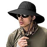 ZOORON Fishing Bucket Hat for Men,Waterproof Wide Brim Boonie Sun Hat UV Protection (Black)