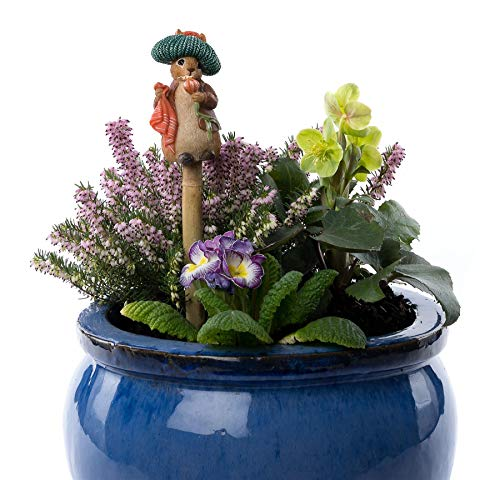 Cane Companions Beatrix Potter Benjamin Bunny Stake Topper - Handmade Flower Pot Garden Ornament - Outdoor Figurine