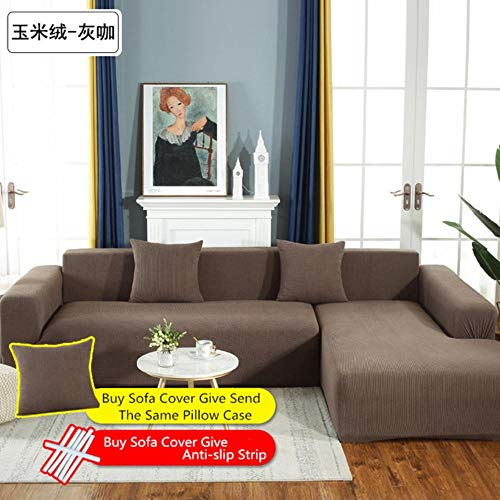 XCVBSofa Bekleding stof Stretch L-vormige Sofa Cover Chaise Longue Sofa Cover Sectionele hoes Hoekbank Cover L Shape Elastic, 4