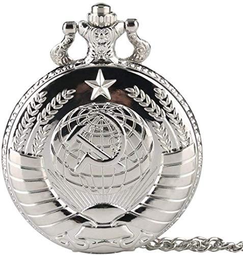 ldl - Reloj de Bolsillo Retro URSS Insignia Soviet Sickle Hammer Style Quartz Bolsillo Reloj Rusia Emblema Comunismo Unisex Collar Cadena Hora de la Cadena Regalos for la Boda (Color : E)