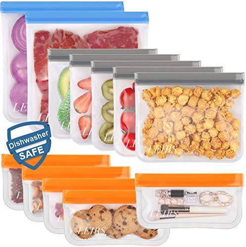 Dishwasher Safe Reusable Storage Bags12 Pack BPA Free Reusable Freezer Bags 5 Reusable Sandwich Bags 5 Reusable Snack Bags 2 Reusable Gallon Bags Leakproof Lunch Bag for Food Storage