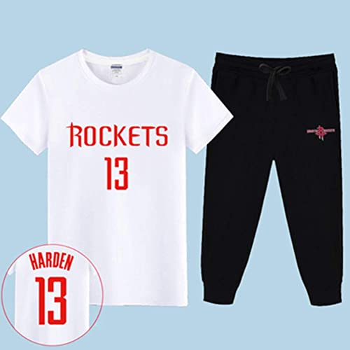 Maillot NBA Fan Ensemble Houston Rockets T-Shirt à Manches Courtes Sweat-Shirt pour Hommes James Harden   13 Basketball Demi-Manche Sport Set