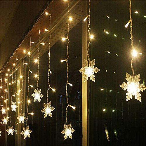Galapara Guirnalda Luces, LED Luces Decorativas 4M 96 Leds de Forma de Copos de Nieve Luces de árbol de Navidad Luces de Hadas para decoración navideña Interior/Exterior Cortina de Luz Intermitente
